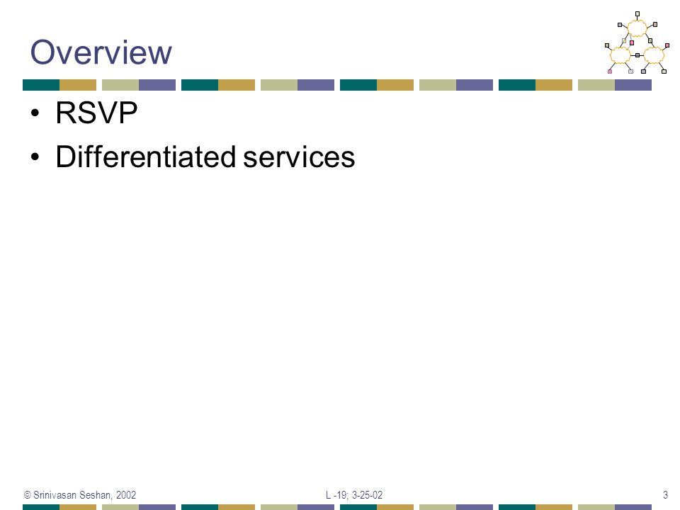 Overview RSVP Differentiated services © Srinivasan Seshan, 2002