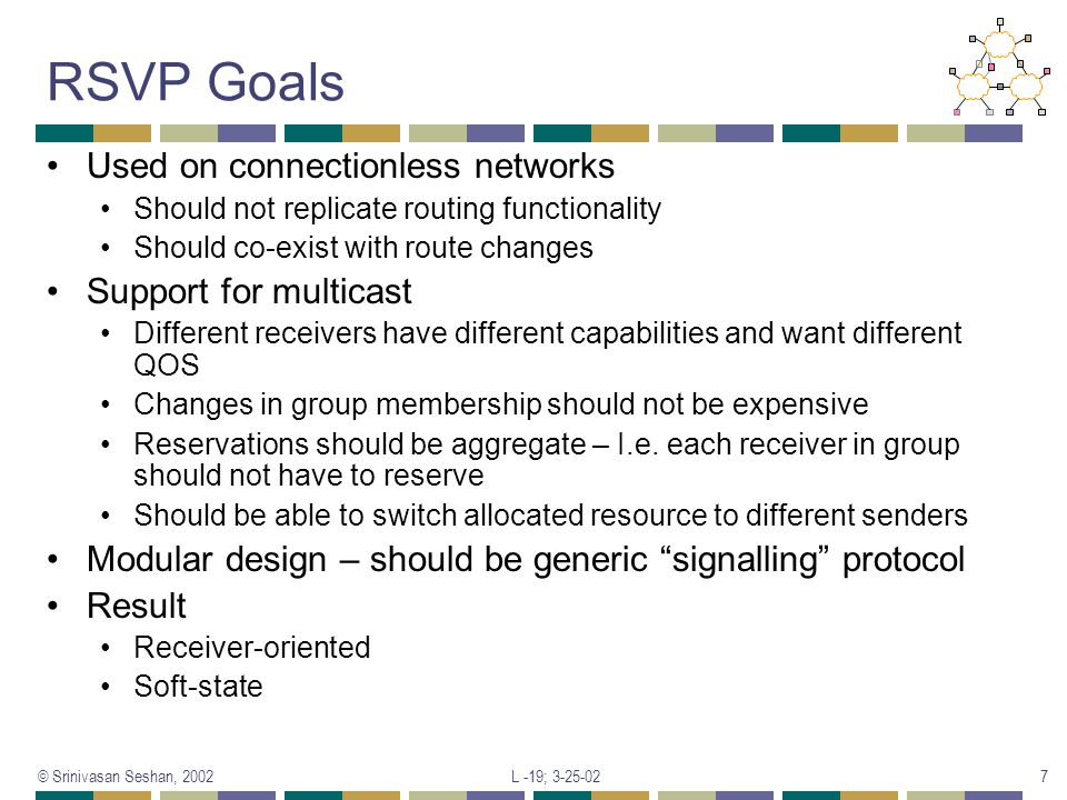 RSVP Goals Used on connectionless networks Support for multicast