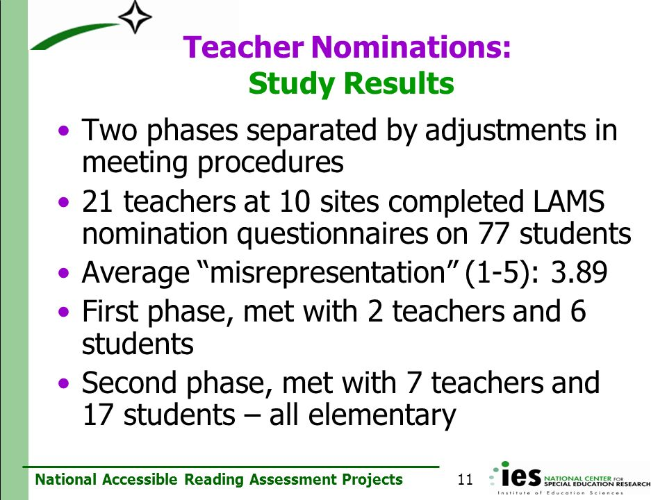 Teacher Nominations: Study Results