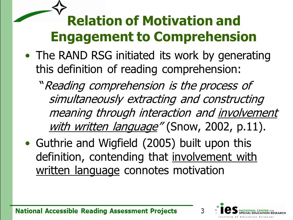 Relation of Motivation and Engagement to Comprehension