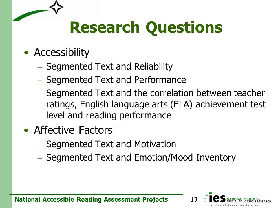 Research Questions Accessibility Affective Factors