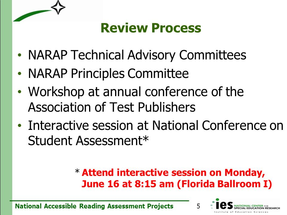NARAP Technical Advisory Committees NARAP Principles Committee