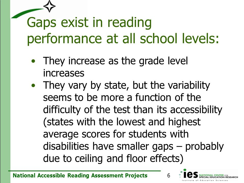 Gaps exist in reading performance at all school levels: