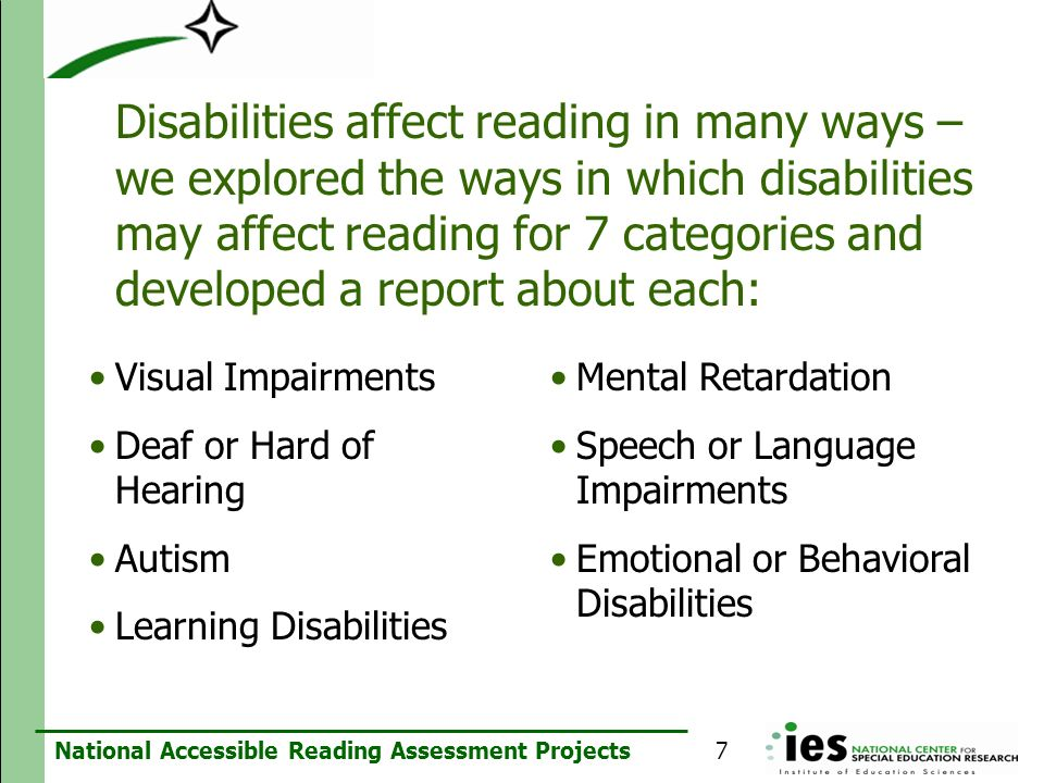Disabilities affect reading in many ways – we explored the ways in which disabilities may affect reading for 7 categories and developed a report about each: