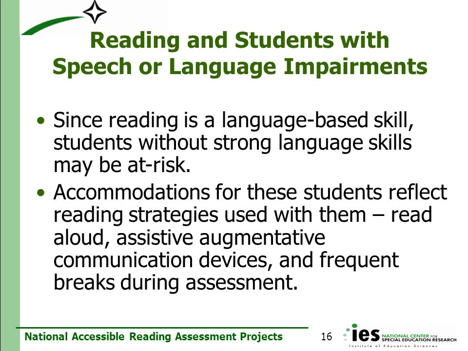 Reading and Students with Speech or Language Impairments