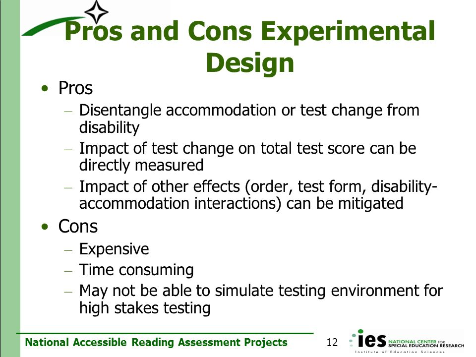 Pros and Cons Experimental Design