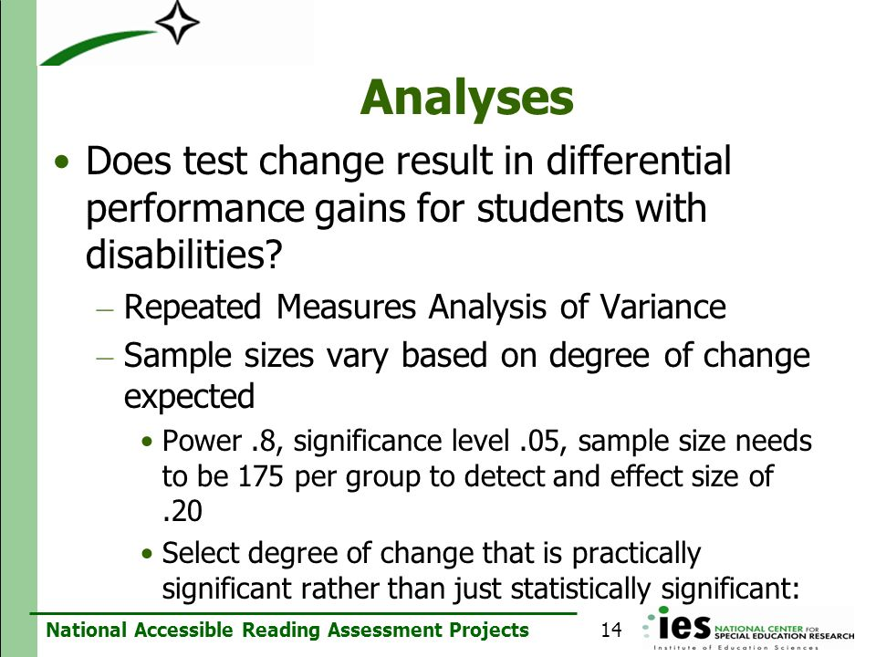 Analyses Does test change result in differential performance gains for students with disabilities Repeated Measures Analysis of Variance.