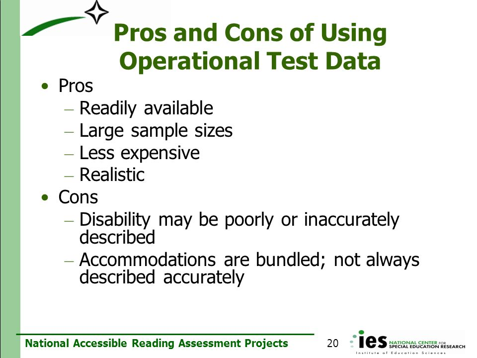 Pros and Cons of Using Operational Test Data