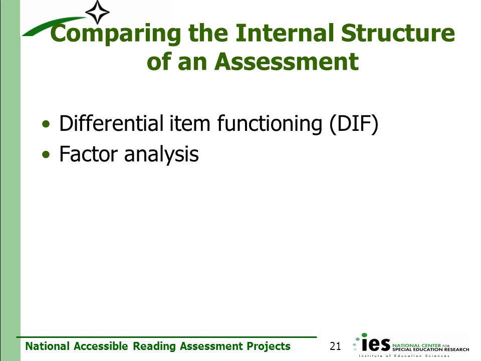 Comparing the Internal Structure of an Assessment