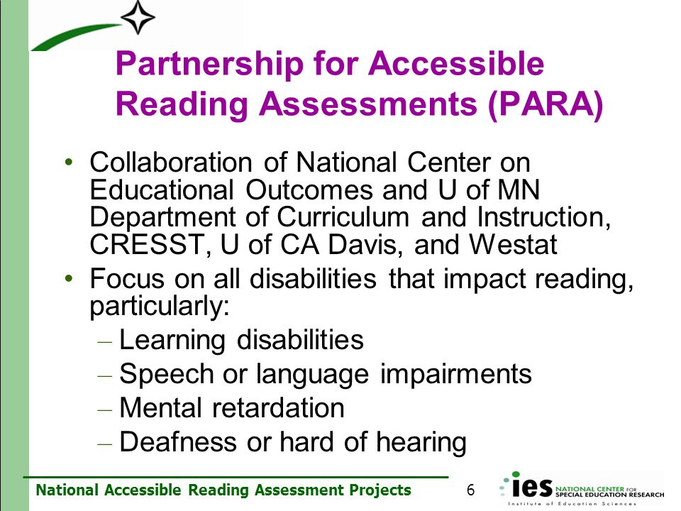 Partnership for Accessible Reading Assessments (PARA)