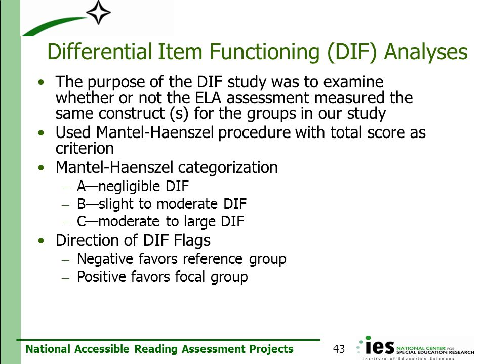 Differential Item Functioning (DIF) Analyses