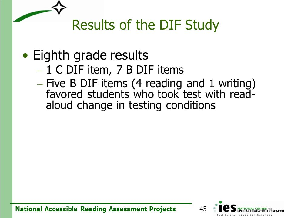Results of the DIF Study