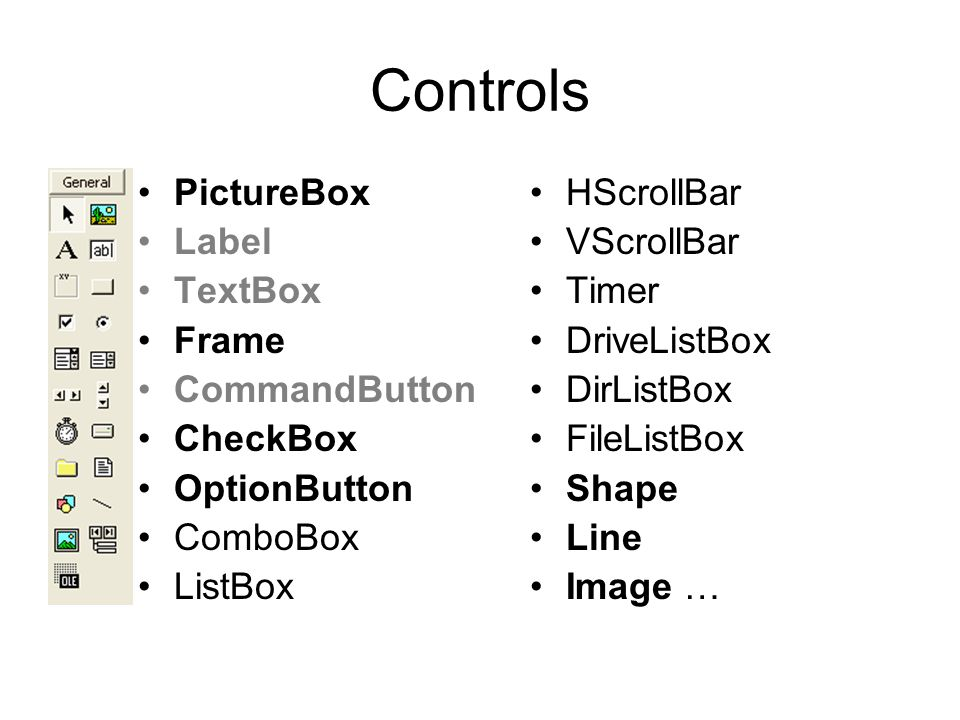 VB Controls and Events Week 7: Picture Box, Image Box, Option, Check