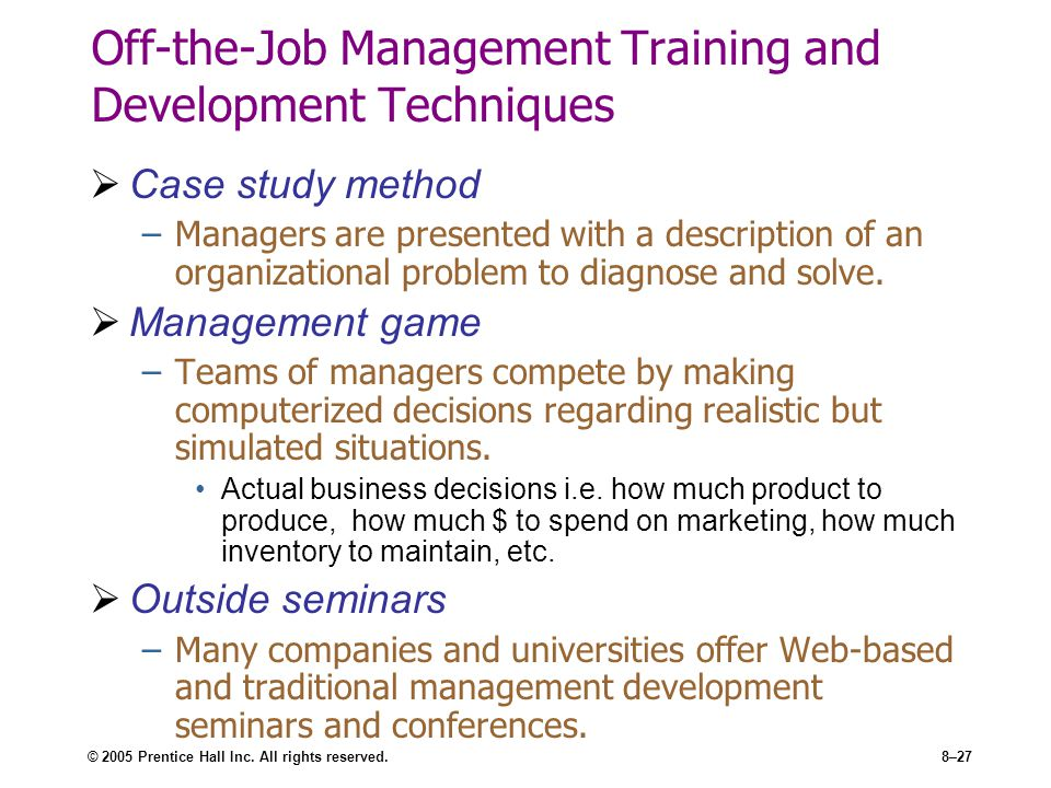 Off-the-Job Management Training and Development Techniques