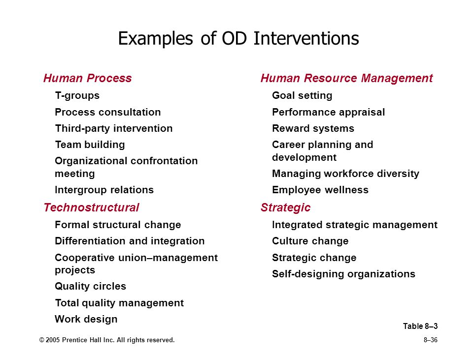 Examples of OD Interventions