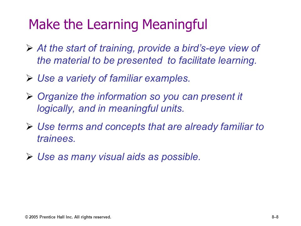 Make the Learning Meaningful