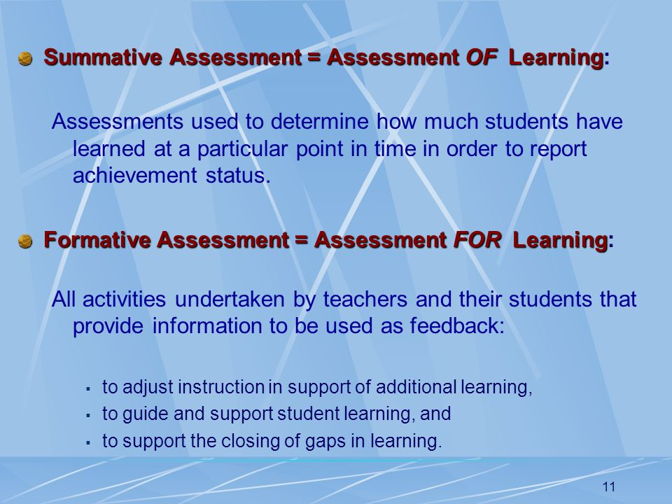 Summative Assessment = Assessment OF Learning: