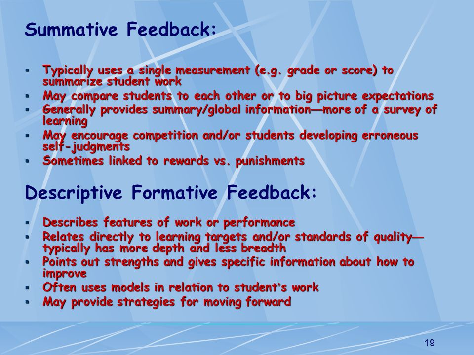 Descriptive Formative Feedback: