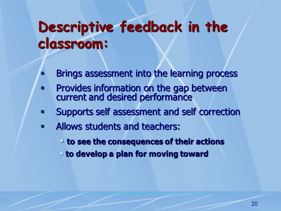 Descriptive feedback in the classroom: