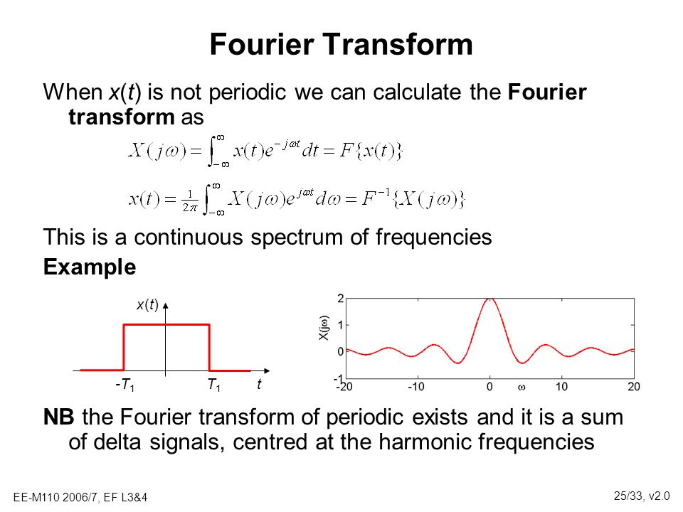 Fourier Transform When x(t) is not periodic we can calculate the Fourier transform as. This is a continuous spectrum of frequencies.