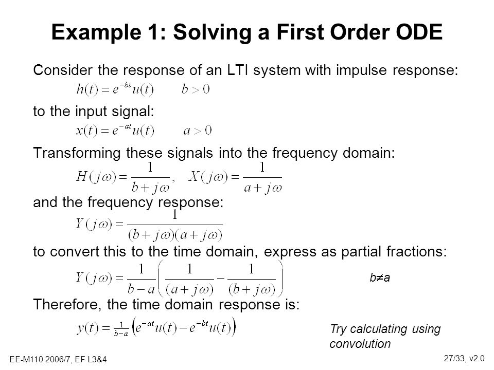 Example 1: Solving a First Order ODE