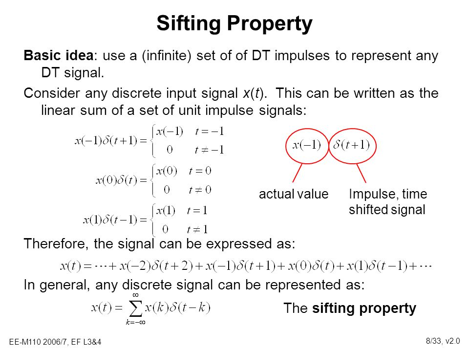 Sifting Property Basic idea: use a (infinite) set of of DT impulses to represent any DT signal.