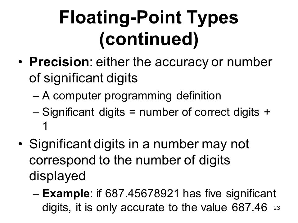 Floating-Point Types (continued)