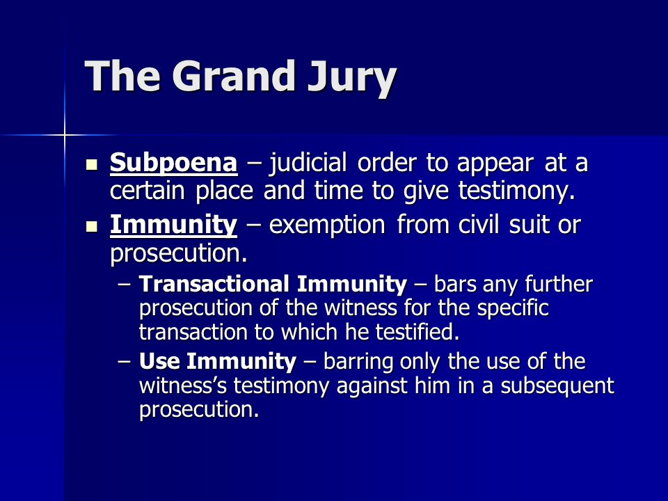The Grand Jury Subpoena – judicial order to appear at a certain place and time to give testimony.