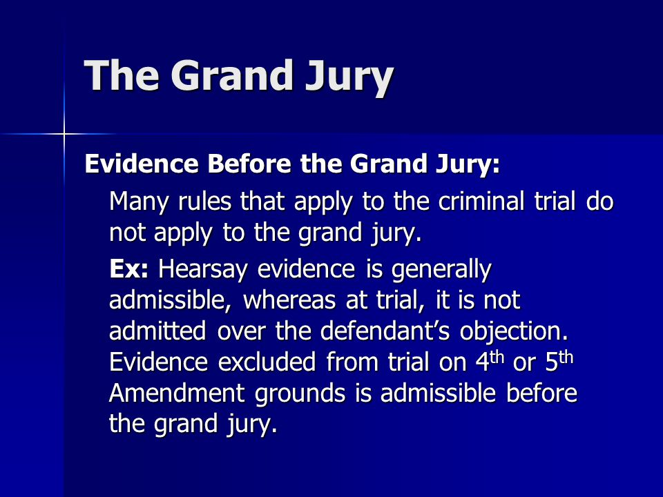 The Grand Jury Evidence Before the Grand Jury: