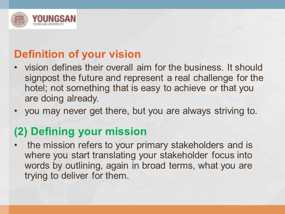 Definition of your vision
