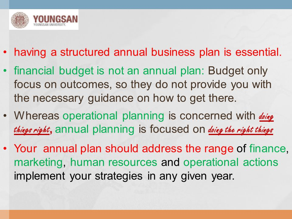 having a structured annual business plan is essential.