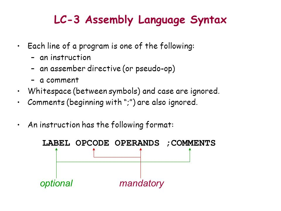 Introduction To Lc 3 Assembly Language Ppt Video Online Download