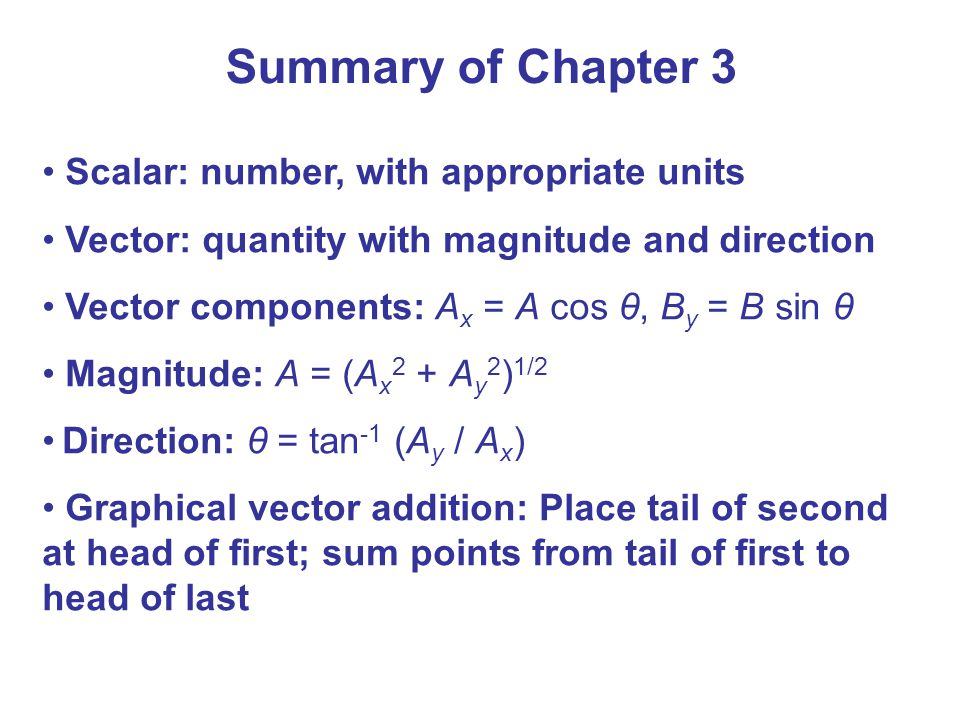 Summary of Chapter 3 Scalar: number, with appropriate units