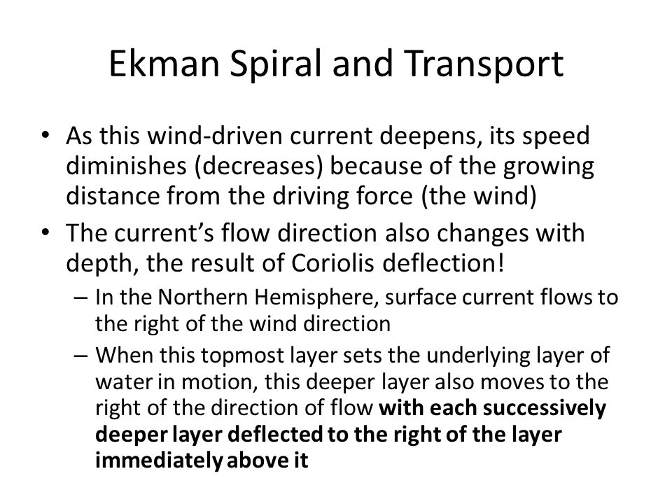 Ekman Spiral and Transport