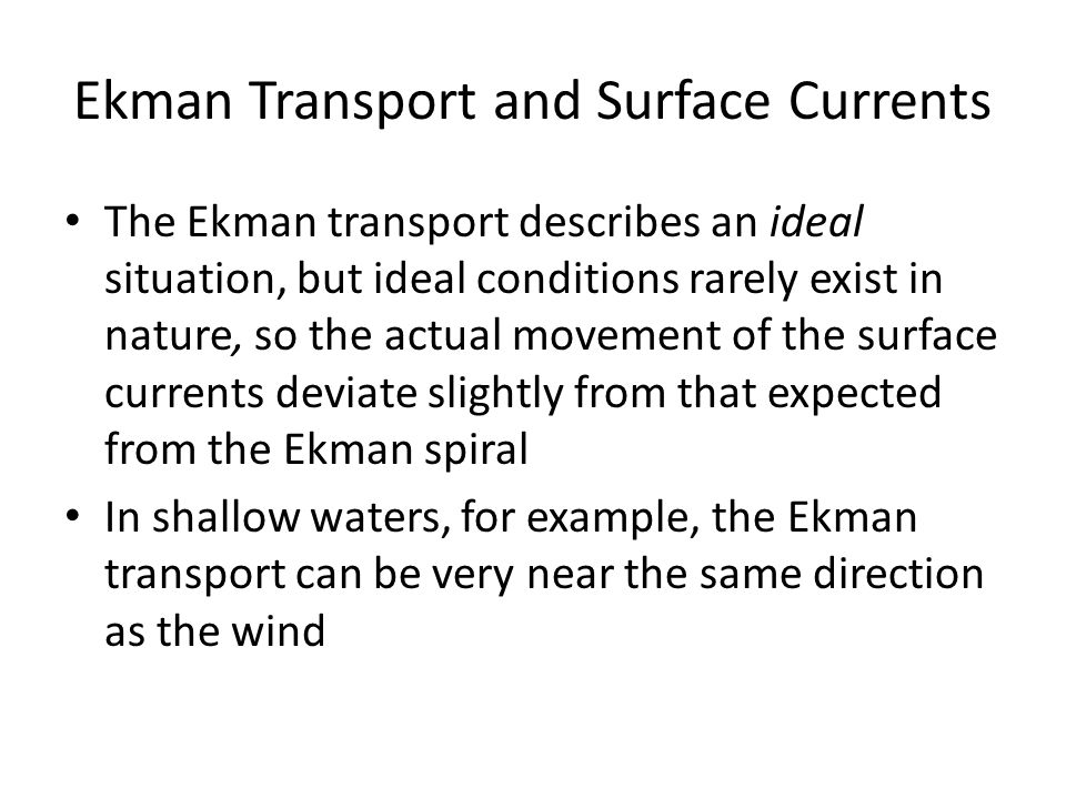 Ekman Transport and Surface Currents