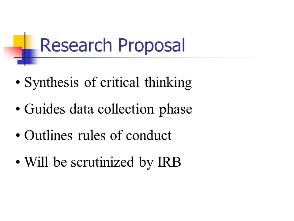 Research Proposal Synthesis of critical thinking