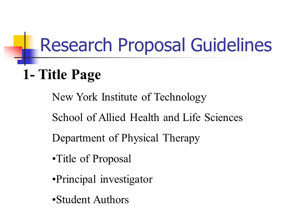 Research Proposal Guidelines