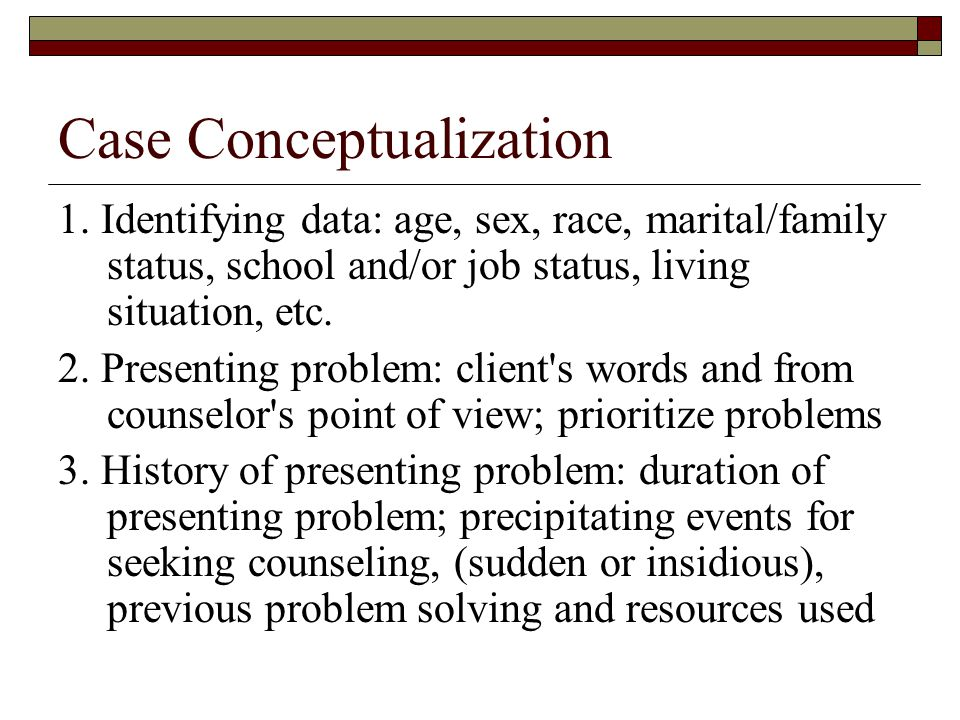 counseling case conceptualization example