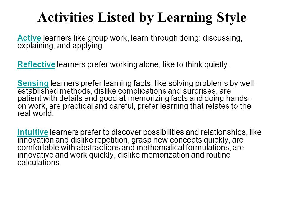 Active Learning Based On Learning Styles Ppt Video Online Download