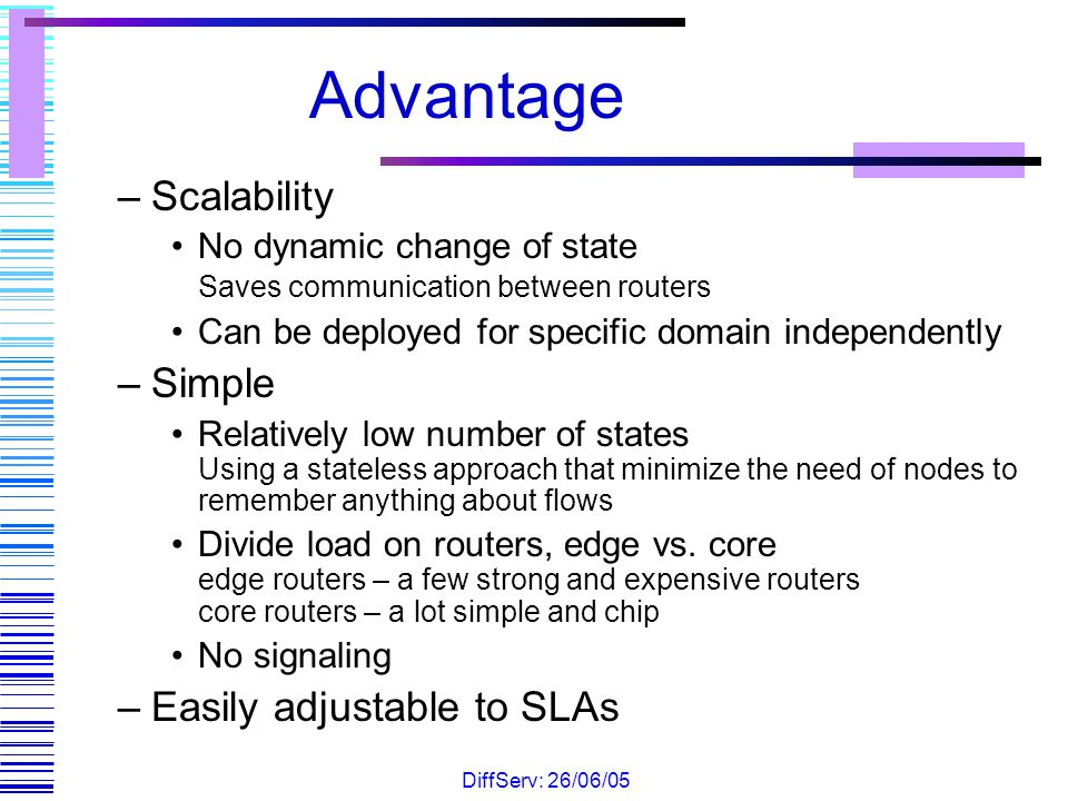 Advantage Scalability Simple Easily adjustable to SLAs