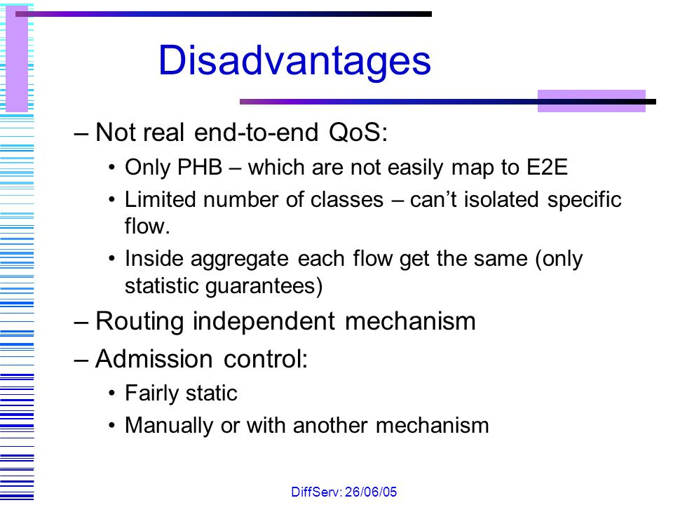 Disadvantages Not real end-to-end QoS: Routing independent mechanism