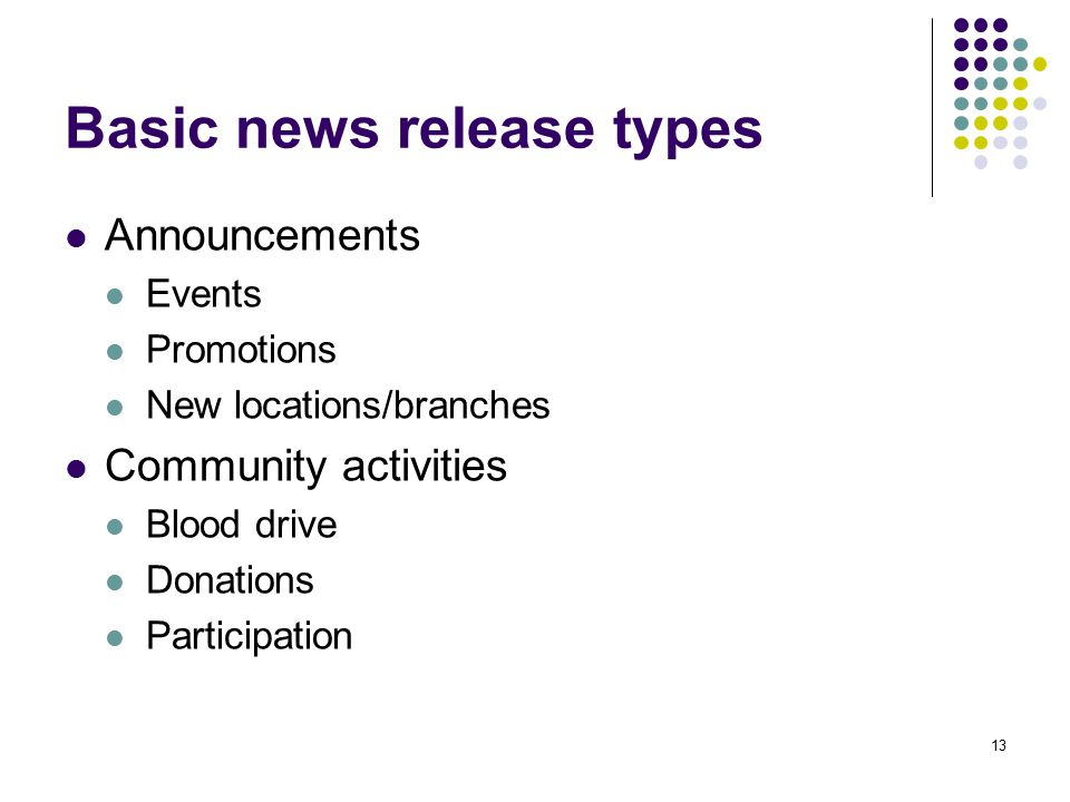 Basic news release types