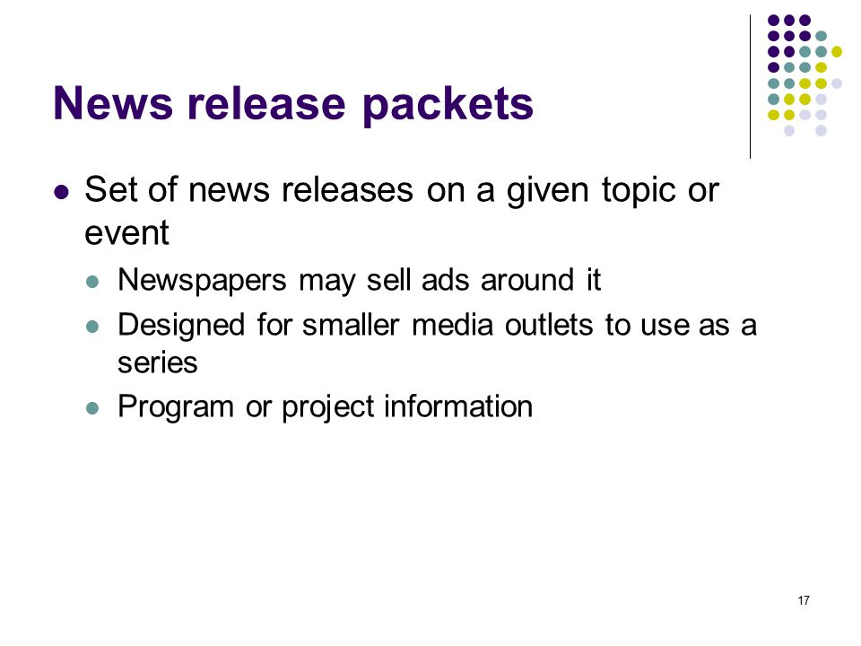 News release packets Set of news releases on a given topic or event