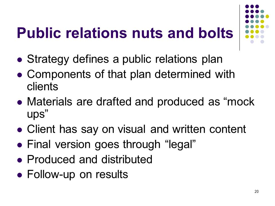 Public relations nuts and bolts