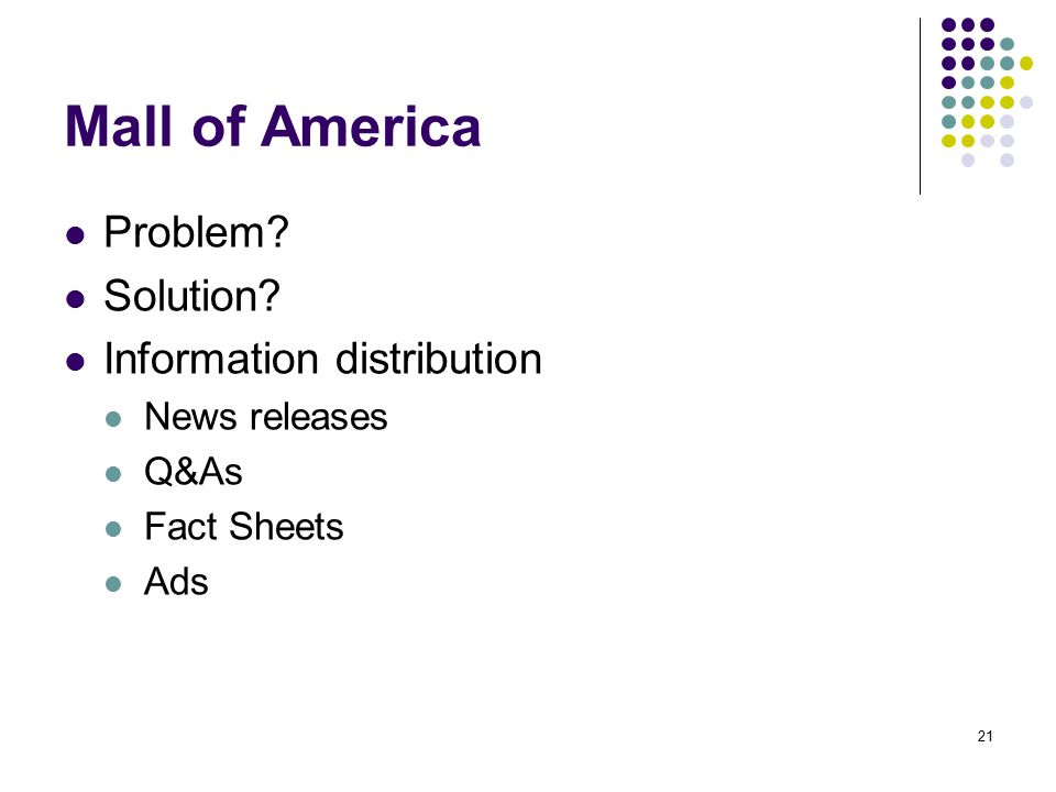 Mall of America Problem Solution Information distribution
