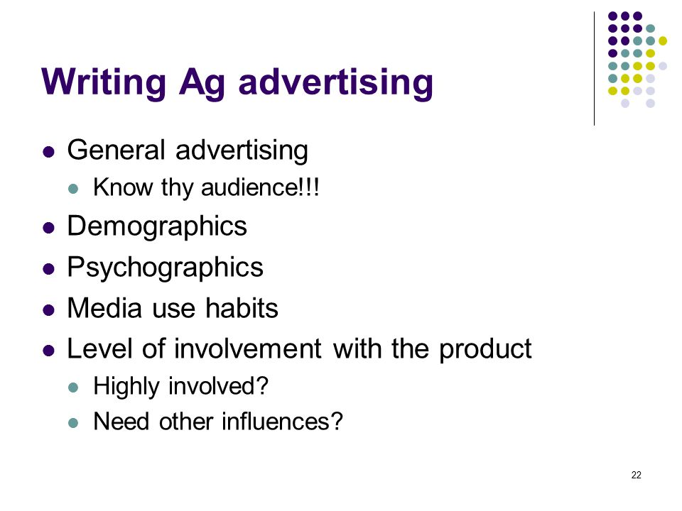 Writing Ag advertising
