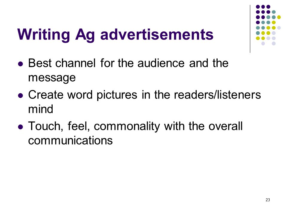 Writing Ag advertisements