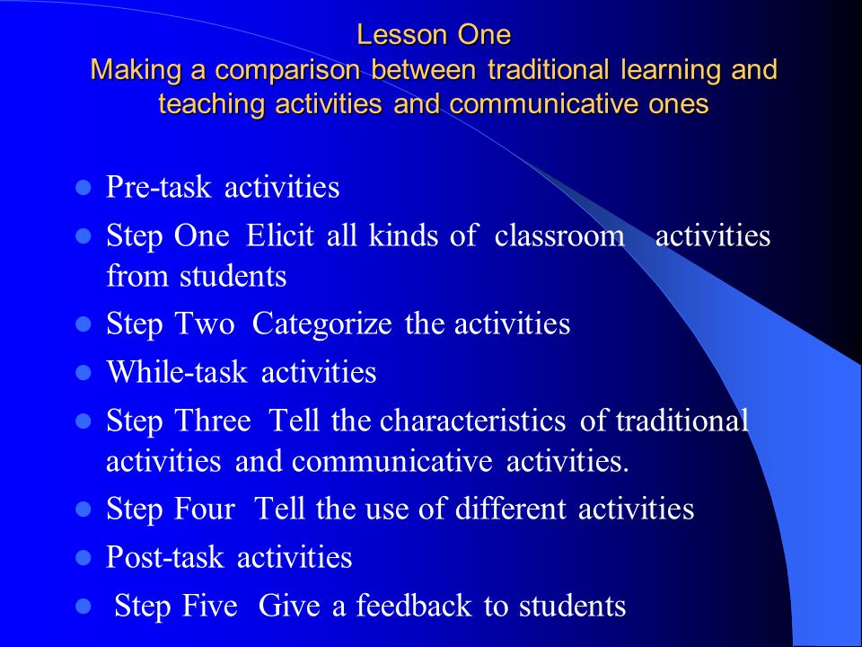Step One Elicit all kinds of classroom activities from students