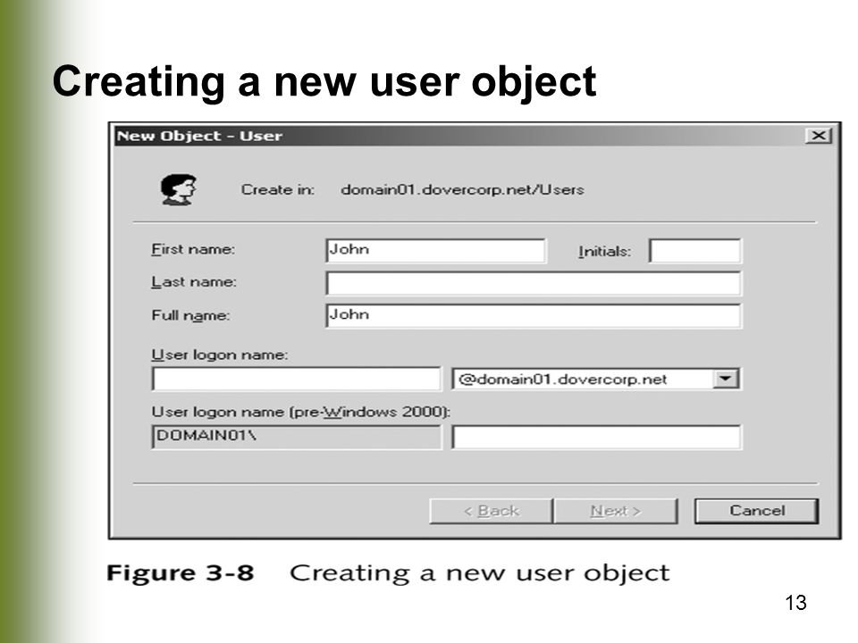 Creating a new user object