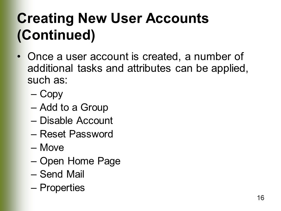 Creating New User Accounts (Continued)